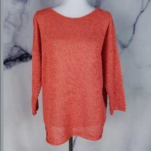 Eileen Fisher Womens Sweater Large Guava Bateau